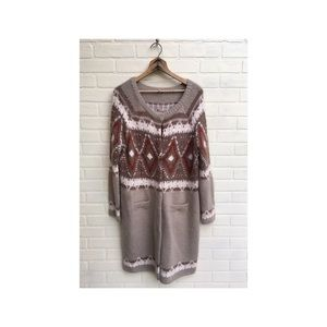 Free People Long Fuzzy Printed Snap Cardigan